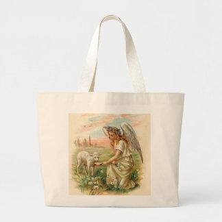 Antique Angel Feeding A Lamb Jumbo Tote Bag