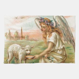Antique Angel Feeding A Lamb Kitchen Towel