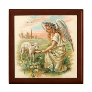 Antique Angel Feeding A Lamb Trinket Boxes