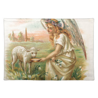Antique Angel With Lamb Placemats
