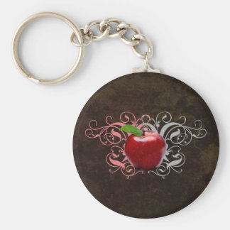 Antique Apple Basic Round Button Keychain