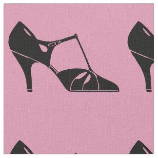 Antique Art Deco Flapper Shoe Pattern Black & Pink Fabric