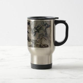 Antique art travel mug