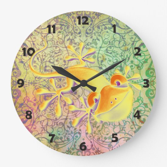Antique ARTs Ornament Pattern + Smiling Gecko Large Clock