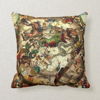 Antique Astrology Astronomy Sky World Map Vintage Throw Pillow