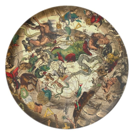 Antique Astrology Horoscope Map Art Vintage Wall Plate