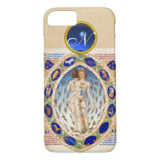 ANTIQUE ASTROLOGY,ZODIACAL SIGNS BLUE GEM MONOGRAM iPhone 8/7 CASE