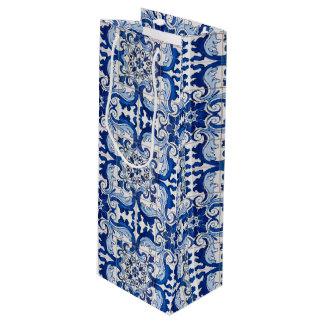 Antique Azulejo Tile Floral Pattern Wine Gift Bag