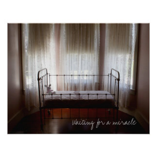 "Antique baby crib ""Waiting for a miracle"" Vintage Poster"