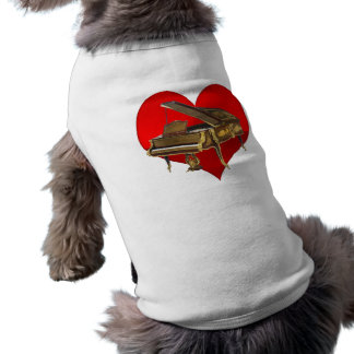 Antique Baby Grand Piano Red Heart Dog T Shirt