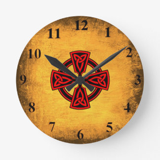 Antique Background Red Celtic Cross Wall Clock