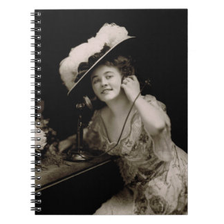 Antique Beauty on Candlestick Telephone Notebook