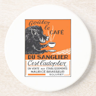 Antique Belgian Coffee Boar Advertising Coaster