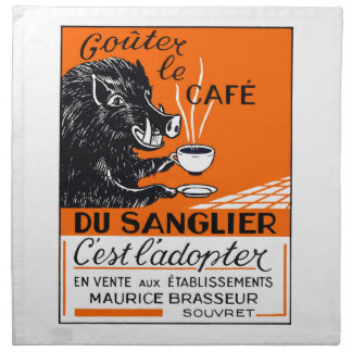 Antique Belgian Coffee Boar Advertising Napkins