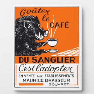 Antique Belgian Coffee Boar Advertising Plaque