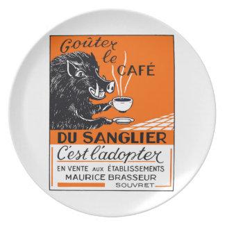 Antique Belgian Coffee Boar Advertising Plates