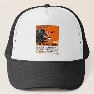 Antique Belgian Coffee Boar Advertising Trucker Hat