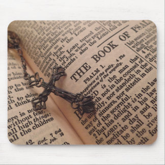 Antique Bible with Rosary Mouse Pad