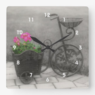 Antique Bicycle Flower Holder Square Wall Clock