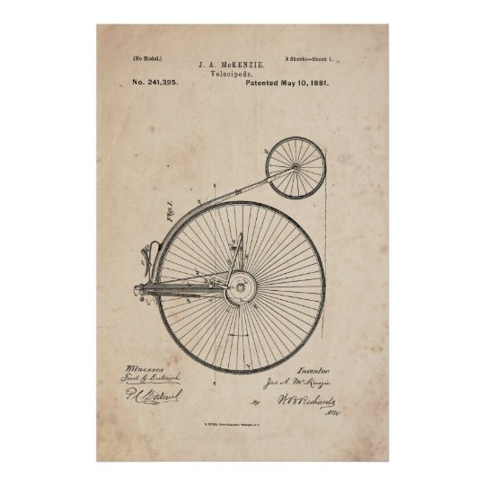 Antique Bicycle Patent Print Poster