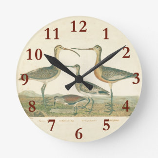 Antique Bird Print Marsh Coastal Round Clock