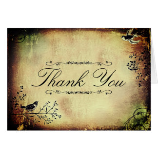 Antique Birds and Vines Thank You Note Card