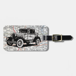 Antique Black-and-White Car Color Map Personalized Luggage Tag
