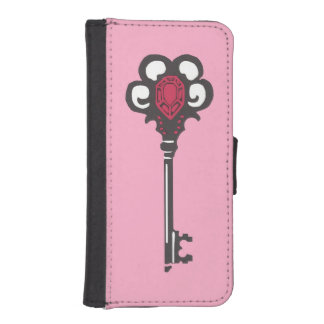 Antique Black Key with Pink Phone Wallet