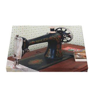 Antique Black Singer Sewing Machine Canvas Print