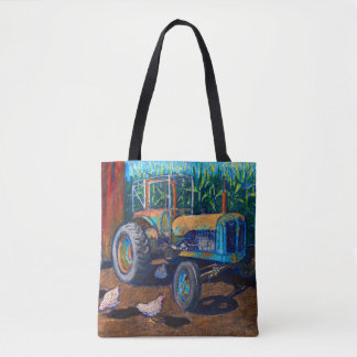 Antique Blue Farm Tractor and Chickens Tote Bag