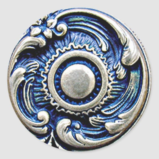 Antique Blue Faux Silver Round Floral Pattern Classic Round Sticker