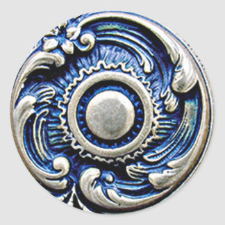 Antique Blue Faux Silver Round Floral Pattern Round Sticker