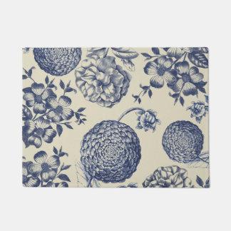 Antique Blue Flower Print Art Botanical Doormat