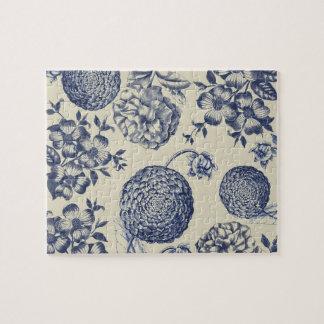 Antique Blue Flower Print Art Botanical Jigsaw Puzzle