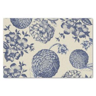 Antique Blue Flower Print Art Botanical Tissue Paper