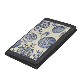 Antique Blue Flower Print Art Botanical Tri-fold Wallets
