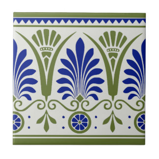 Antique Blue Green Palmette Deco Border Tile Repro