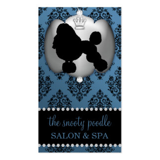 Antique Blue Jeweled Damask Dog Grooming/Spa Business Card