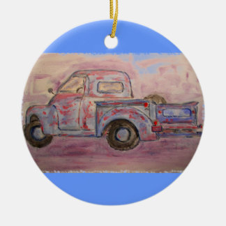 antique blue patina truck round ceramic ornament