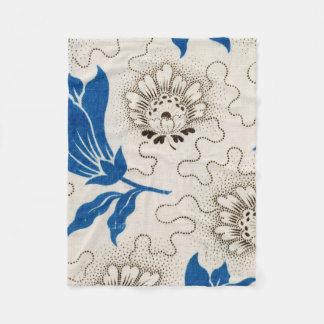 Antique Blue Stippled Floral Pattern Fleece Blanket