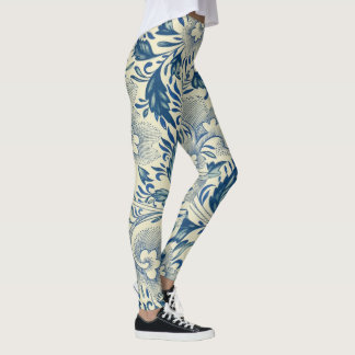 Antique Blue & White Oriental Flower Pattern Yoga Leggings