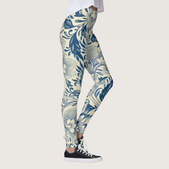 Antique Blue & White Oriental Flower Pattern Yoga Leggings