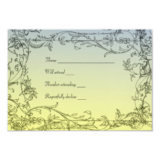 Antique Blue Yellow Vine rsvp with envelopes Card