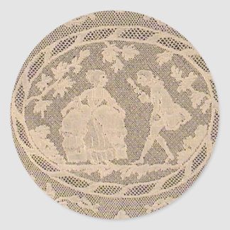 Antique Bobbin Lace withe Courting Couple Classic Round Sticker