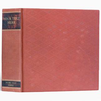 Antique Book: Old red worn & vintage cover. Retro Vinyl Binders