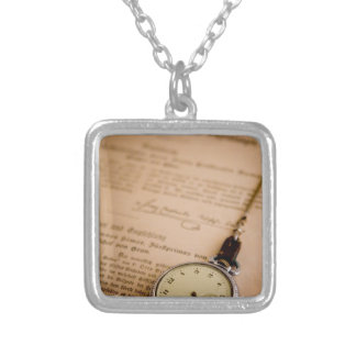 Antique Book Paper Pocket Watch Fob Silver Plated Necklace