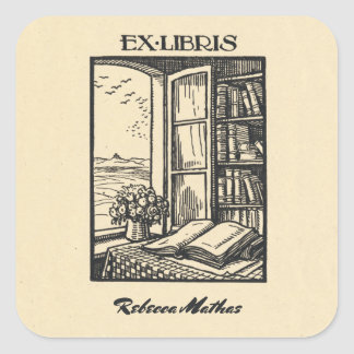 Antique Bookplate Etching Henri Bacher Ex Libris Square Sticker
