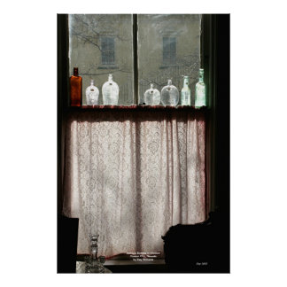 Antique Bottles in Window, Carson City, Nevada Poster