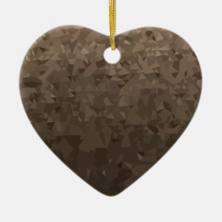 Antique Brass Camo Abstract Low Polygon Background Ceramic Heart Ornament