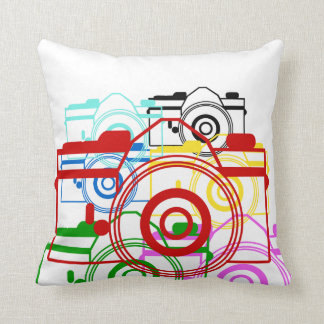 Antique Bright Art Camera Design Throw Pillow